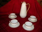 Haviland Limoges France Chocolate /tea / Coffee Set Pot And 4 Cups White And Gold