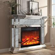 Mirrored Electric Fireplace Fireplace Mantel Freestanding Silver/mirror B
