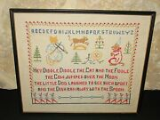 Vintage Hand Crafted Cross Stitch Nursery Rhyme Sampler Country Cabin Cottage