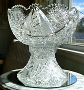 Antique American Brilliant Cut Glass 2 Piece Punch Bowl - J. Hoare And Co 1911