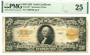 1922 20 Gold Certificate Fr1187 Pmg Vf25 Star Note