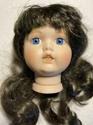 Vtg Flange Doll Head 4 1/4andrdquo Parts Porcelain Black Wig For 18andrdquo Dolls Chubby Cheek