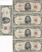 1963 Five Dollar Notes Lot Of 5 Dollars In A Fine Condition