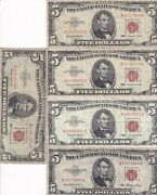 Five Dollar Note 1963 Red Seal 5 Dollar Lot In A Fine Condition