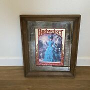 Vintage Budweiser Wood Framed Etched Mirror Lady With Pitcher