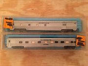 N Scale Atlas Lot Of 2 Penn Central Passenger Cars Baggage And Observation Pc