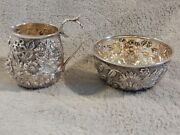 Antique Jenkins And Jenkins Sterling Silver Repousse Creamer Pitcher And Sugar B