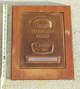 Cessna Plane Authorized Dealer Sign Plaque 1970and039s Bronze Wood Akron Aviation Co