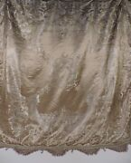 Beautiful Antique Floral And Scroll Satin Bed Spread W Rope Knot Edging