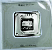 New 50 Gram .999 Silver Geiger Edelmetalle Square Castle In Assay And Sealed Case