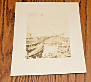 Esther M. Andros Pencil Signed Etching Engraving The Skipper Nantucket Dock Art