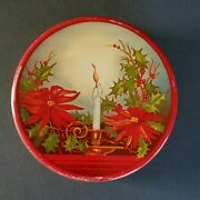 Vtg Antique Art Deco Xmas Tin Container Candle Holder Flame Poinsettia Red Round