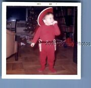 Found Color Photo L_7284 Little Boy Dressed As Cowboy With Toy Pistols