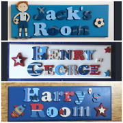Boys Hand Made Wooden Double Name Plaque / Door Sign. Personalised 2 Words