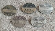 5 Ohio Chauffeur Badges 1941 1950 1948 1951 Set License Plate Pins Buttons Taxi