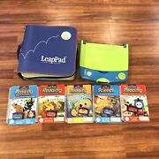 2001 Leap Pad Frog Learning System Lot Of 5 Games And Books Tested Disney