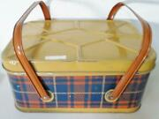 Vintage 2 Handled Picnic Tin With 45 Byrds Plastic Dinnerwear Items