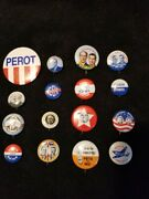Lot Of 16 Political Campaign Buttons - Stevenson, Wilson, Roosevelt, Ike, Perot