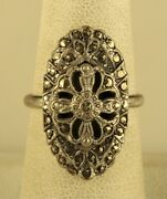 Antique Sign Sterling Art Deco Victorian Marcasite Oval Cross Accent Ring 7 1/2