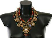 Dolce And Gabbana Necklace Gold Carretto Statement Crystal Charm Sicily Rrp 3400