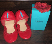 Nib Tieks True Love Red Leather Ballet Flats Shoes Size 10 Htf Rare Limited