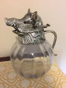 Vintage Valenti Boars Head Glass Pitcher Silver Plate Large Fabulous Signed