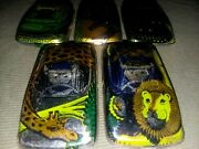 5 Vintage Russian Tin Rolling Toy Cars Zoo Animals