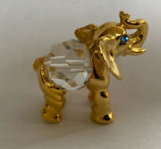 Hallmarked Cfl Crystal Ball Belly Gold Tone Metal Faceted Elephant Figurine Mint