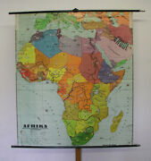 Beautiful Large Old Colorful Wndkarte Africa 63x70 7/8in 1961 Vintage Wall Map