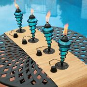 Sunnydaze Blue Glass Outdoor Tabletop Torches - Citronella Torch - Set Of 4