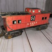 Vintage Marx  A.t.and S.f 1951 Santa Fe Red Caboose O Scale