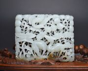 Chinese Antique White Jade Deer Crane Flowers Hollow Handcarved Figurine Statues