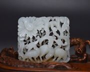 Chinese Antique White Jade Crane And Flowers Hollow Hand-carved Figurine Statues