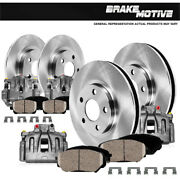 Front + Rear Brake Calipers And Rotors + Ceramic Pads For Chevy Gmc Sierra