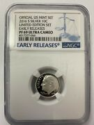 2016 S San Francisco Mint 10c Roosevelt Silver Proof Dime - Ngc Pf69 Ultra Cam