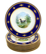8 Minton England Hand Painted Porcelain Game Bird Cabinet Plates 1881