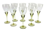 8 Rosenthal Studio Line Glass Wine Goblets In Papyrus Green, Signed