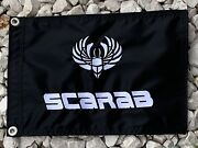 Scarab Boat White 12x18 Embroidered Flag Black With White