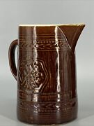 Antique Albany Glazed Stoneware Carafe Pitcher With Grape Pattern Estate Find