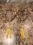 Vintage - Set Of Two Chinese Prayer Mala Reverse Painted Glass 20 Bead Necklaces