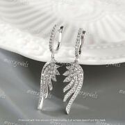 2.50ct Round Cut Vvs1/d Diamond Feather Drop Dangle Earrings 14k White Gold Over