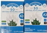 Holiday Time 50 Led Mini Lights - Cool White - Green Wire - Christmas Lot Of 2