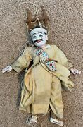 Antique Asian Chinese / Japanese Wooden Man Marionette Puppet