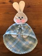 Vintage 1979 Fisher Price Bunny Rabbit Security Blanket Plush Blue Plaid 443