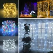 Outdoor Solar String Lights Party Stake Waterproof Yard 100led 10m 32ft
