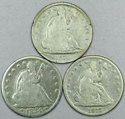 1854, 1870, 1875 Seated Liberty Half Dollars, G/vg Cleaned, Lot Of 3 Coins