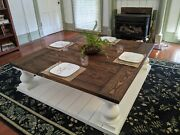 Shabby Chic Huge 58 Square Farmhouse Rustic Country Coffee Waiting Room Table