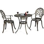3 Pieces Metal Outdoor Set Patio Bistro With Attached Removable Ice Bucket