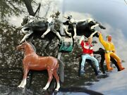 Vintage Hartland 1960s Figures And Horses Molded Plastic