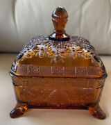 Vintage Amber Footed Gold Tiara Bee Box Candy Dish Indiana Glass Mint Htf